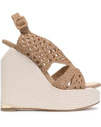 Paloma Barceló - Woven Leather Espadrille Wedge Sandals - Lyst