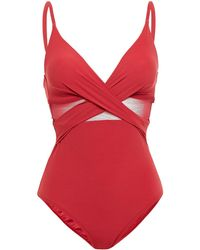 Jets by Jessika Allen Conspire Crossover Mesh-paneled Cutout Swimsuit - Red