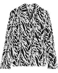 Diane von Furstenberg Courtney Zebra-print Silk Crepe De Chine Jacket - White