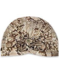 Roberto Cavalli Ruched Snake-print Jersey Turban Animal Print - Multicolour
