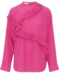 Cedric Charlier - Ruffle-trimmed Crepe De Chine Top - Lyst
