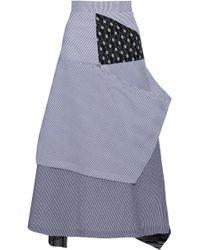 JW Anderson - Asymmetric Patchwork Linen And Cotton-seersucker Midi Skirt - Lyst