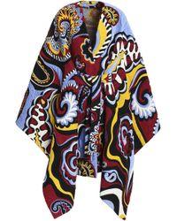 Emilio Pucci - Woman Belted Jacquard Cape Merlot - Lyst
