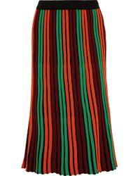By Malene Birger Striped Ribbed Wool-blend Midi Skirt Bright Orange - Red