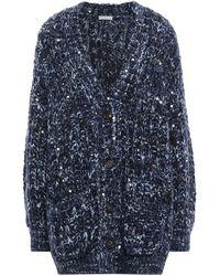 Brunello Cucinelli Sequin-embellished Marled Knitted Cardigan Navy - Blue