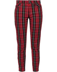 Current/Elliott Checked Cotton-blend Jacquard Skinny Trousers Claret - Red