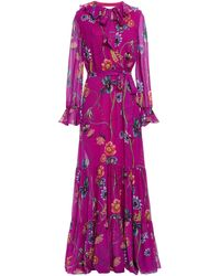Borgo De Nor Anna Floral-print Silk-georgette Maxi Dress - Purple