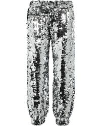 MSGM Intarsia-trimmed Sequined Cotton Track Pants Silver - Metallic