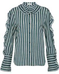 Sonia Rykiel - Ruffle-trimmed Striped Crepe Shirt - Lyst