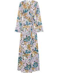 Diane von Furstenberg Sharon Printed Silk-georgette Maxi Wrap Dress Lilac - Purple