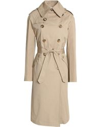 Sandro - Woman Double-breasted Cotton-gabardine Trench Coat Beige - Lyst