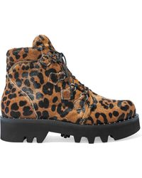 Tabitha Simmons Neir Leopard-print Calf Hair Combat Boots Animal Print - Brown