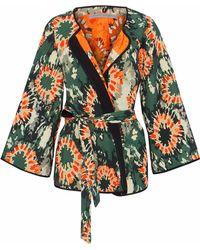 Raquel Allegra - Satin-trimmed Cotton-blend Jacquard Kimono Forest Green - Lyst