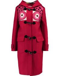Stella Jean - Montgomery Embroidered Brushed Wool-blend Hooded Coat Bright Pink - Lyst