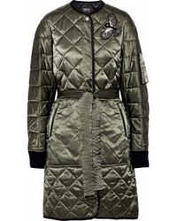 Markus Lupfer Woman Embellished Quilted Cotton-blend Satin Coat Army Green