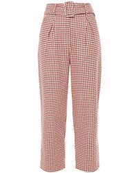 Paper London Tulip Cropped Houndstooth Cotton-jacquard Tapered Trousers Peach - Multicolour