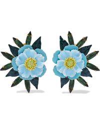 Elizabeth Cole Phoenix 24-karat Gold-plated, Swarovski Crystal And Enamel Earrings Light Blue