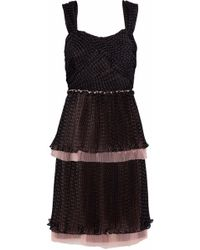 Mikael Aghal - Tiered Tulle-trimmed Polka-dot Chiffon Dress - Lyst