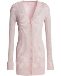 Ganni - Metallic Ribbed-knit Cardigan - Lyst