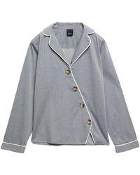 Else Victoria Asymmetric Cotton-blend Pajama Top - Grau