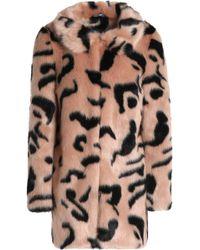Shrimps - Woman Bobby Leopard-print Faux Fur Coat Blush - Lyst