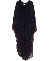 Camilla Crystal-embellished Pleated Printed Silk Crepe De Chine Kaftan - Black