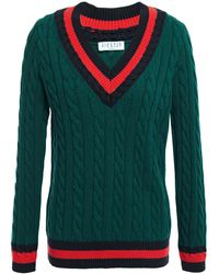 Claudie Pierlot Striped Cable-knit Cotton And Wool-blend Sweater Emerald - Green