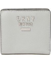 DKNY Logo-embellished Pebbled-leather Wallet Light Grey