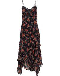 Michael Kors Lace-trimmed Ruffled Floral-print Silk-chiffon Midi Dress - Black