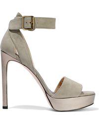 4c613028a73 Stuart Weitzman - Woman Metallic Leather-trimmed Suede Platform Sandals  Mushroom - Lyst