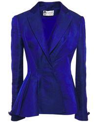 Lanvin Pleated Hemp-blend Peplum Blazer - Blue