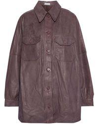 A.L.C. Mercier Oversized Leather Jacket - Brown