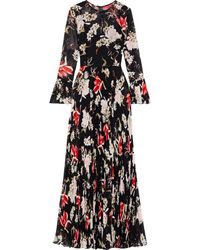 Mikael Aghal Pleated Floral-print Chiffon Gown Black