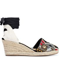 Schutz Lace-up Embroidered Suede Wedge Espadrilles Black