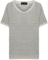 Nili Lotan Halsey Striped Linen T-shirt - White