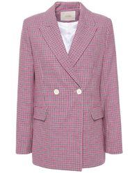 Maje Vic doppelreihiger blazer aus jacquard aus einer baumwollmischung mit hahnentrittmuster - Lila