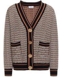 Claudie Pierlot Marjolaine Jacquard-knit Cardigan Light Brown - Black