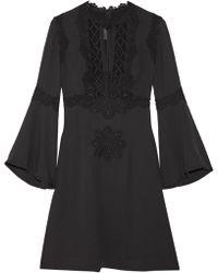 Elie Saab - Guipure Lace-paneled Crepe Mini Dress - Lyst