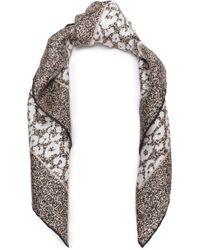 Roberto Cavalli - Woman Leopard-print Silk-twill Scarf Beige - Lyst