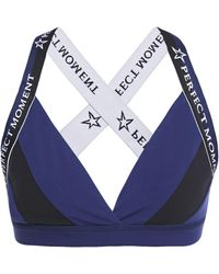 Perfect Moment Logo-embroidered Striped Stretch-jersey Sports Bra Navy - Blue