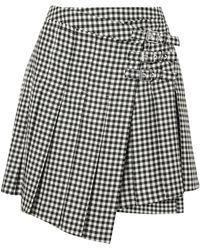 McQ - Woman Pleated Gingham Wool-twill Mini Wrap Skirt Black - Lyst