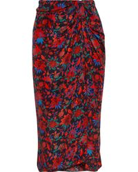 Rag & Bone - Amber Twist-front Floral-print Silk Crepe De Chine Midi Skirt - Lyst