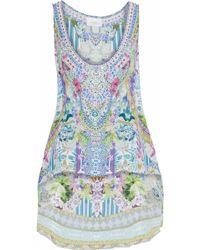 Camilla - Garden State Asymmetric Printed Silk-chiffon Top Lilac - Lyst