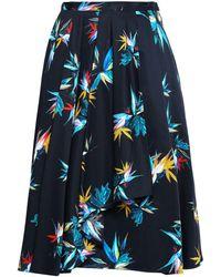 Jason Wu Pleated Printed Cotton-poplin Skirt Black