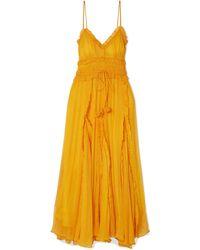 Lee Mathews Lilla Ruffle-trimmed Silk-georgette Maxi Dress - Multicolour