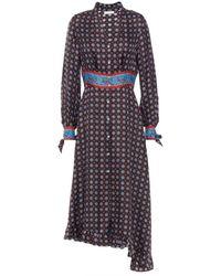 Sandro Catlyn Pleated Printed Silk-satin Twill Midi Dress - Black
