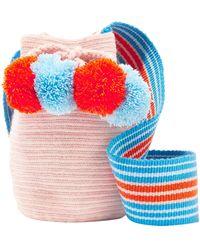 Sophie Anderson Lulu Ii Mini Pompom-embellished Woven Bucket Bag - Pink