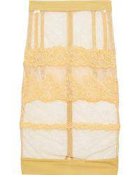 La Perla Rugiada slip skirt aus stretch-tüll mit stickereien und jersey-besatz - Gelb