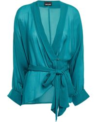 Just Cavalli Wrap-effect Georgette Blouse Teal - Blue
