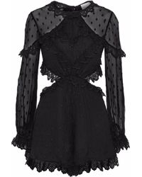Zimmermann - Broderie Anglaise-trimmed Embroidered Silk-gauze Playsuit - Lyst